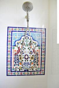Carlsbad Interior Design, Coastal Interior, Carlsbad Remodel, Design Build, General Contractor, Blue Tile, White Bathroom, Gold, Clean Bathroom, Modern Bathroom