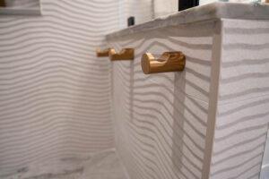 Carlsbad Interior Design, Coastal Interior, Carlsbad Remodel, Design Build, General Contractor, Blue Tile, White Bathroom, Gold, Clean Bathroom, Modern Bathroom, gold accents