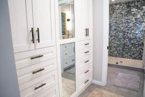 Carlsbad Interior Design, Coastal Interior, Carlsbad Remodel, Design Build, General Contractor, Blue Tile, White Bathroom, Gold, Clean Bathroom, Modern Bathroom, Closet Buildout, Custom Closet