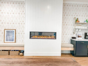 Electric Fireplace, Shiplap, Wallpaper, Mid Century Modern, Interior Designer, General Contractor, This is BAW, B.A. Worthing, Inc